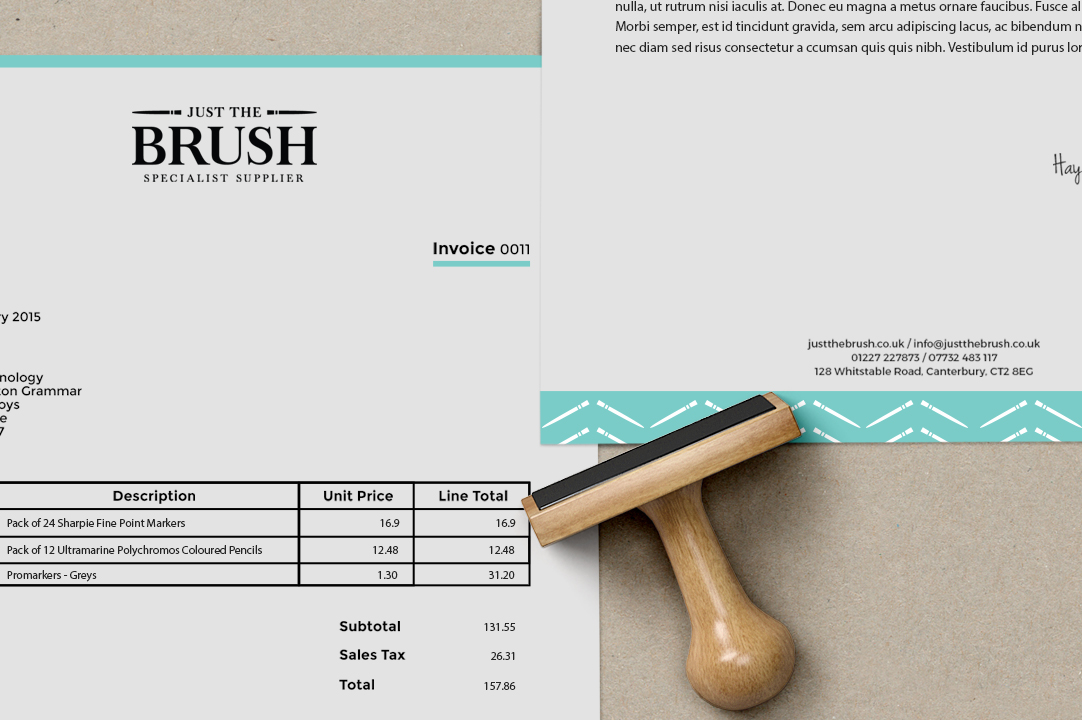 Just The Brush stationery invoice